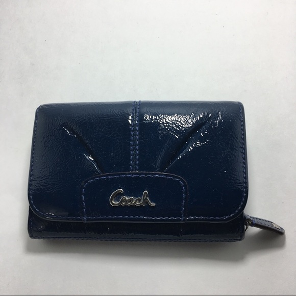 Coach Handbags - Coach blue patent leather bifold wallet